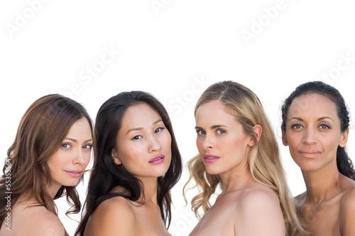 Sensual nude models posing and looking at camera