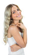 Happy sensual blond woman smiling