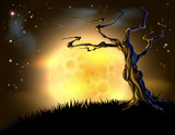 Orange Halloween Moon Tree Background