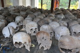 Skulls on display at the killing fields of Cambodia