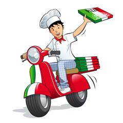 Pizzeria - Livreur de pizza en scooter