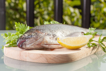 fresh trout prepared for cooking