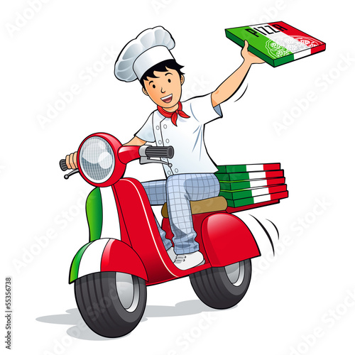Pizzeria - Livreur de pizza en scooter