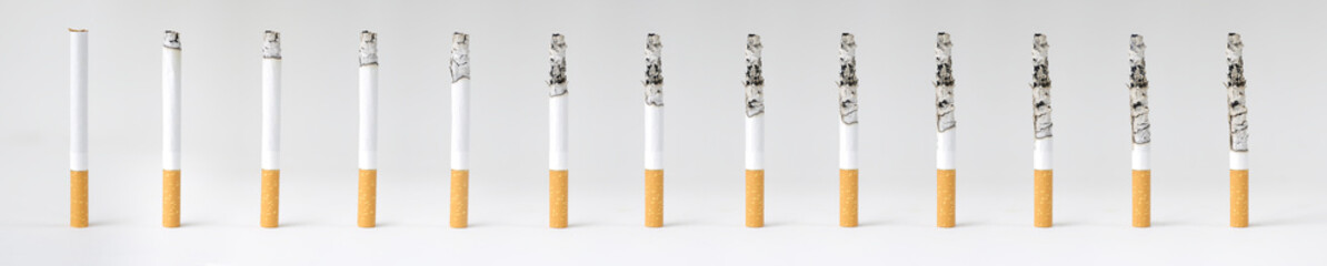 Montage of a burning cigarette in different stages
