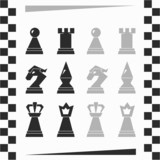 monochrome chessmen silhouette