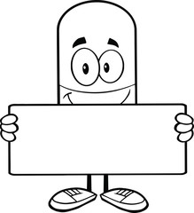 Black and White Pill Capsule Cartoon Character Holding A Banner