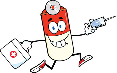 Pill Capsule Character Running With A Syringe And Medicine Bag