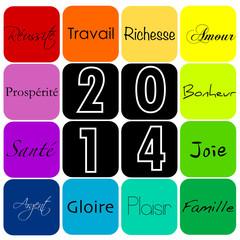 Carte voeux couleurs 2014 mots