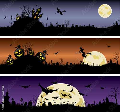 Set of Halloween night banners