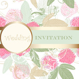Cute wedding floral invitation for design