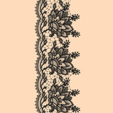 Vertical Seamless Pattern Black Lace
