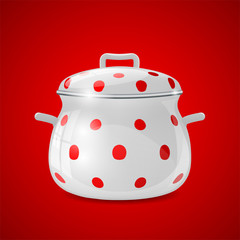white kitchen pot with red dots