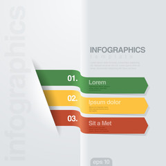Infographics vector design template. Creative ribbon style