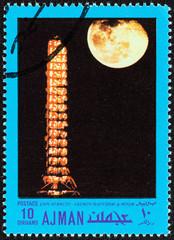 Cape Kennedy, launch platform and moon (Ajman Emirate 1970)