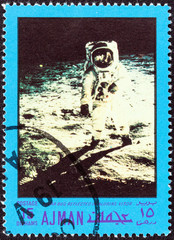 Lunar bug reflected in Aldrin's visor (Ajman Emirate 1970)