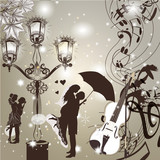 Wedding elegant  background with cute couple street light and vi
