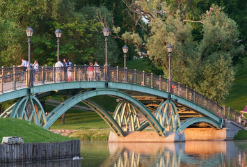 Eastern humpback bridge in Tsaritsyno park (Moscow, Russia)