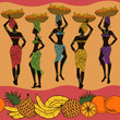 African seamless pattern of fruits and street vendors