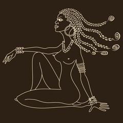 Silhouette of beautiful African tribal nude girl
