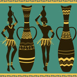 African seamless pattern of girls and vases