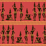 Seamless pattern of African seminude girls