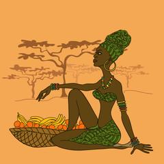 Beautiful African girl with fruit basket
