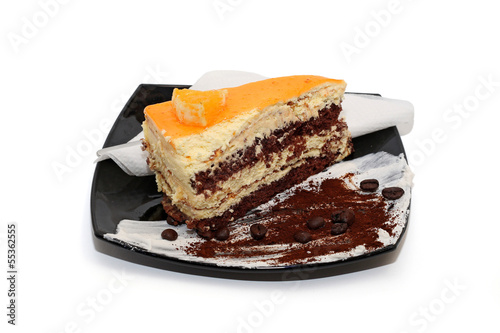 Orange cake with coffee beans isolated