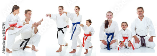 Aluminium Vechtsporten Family karate athletes shows on the white background collage