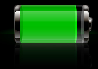Glossy transparent battery icon