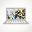 Modern laptop with abstract city map illustration
