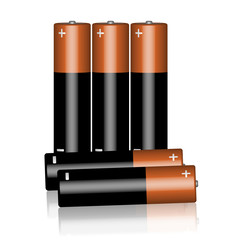 Five batteries on a white background