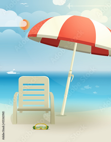 Beach landcape with chair and umbrella