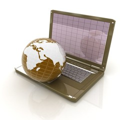 Globe and laptop