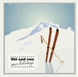 Winter  background. Mountains and ski equipment in the snow - 55364706