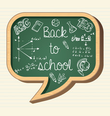 Back to school education icons social bubble chalkboard elements