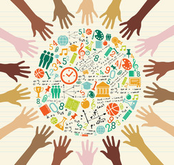 Education global icons human hands.