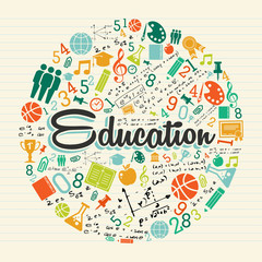 Education circle colorful icons.