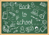 Fototapety Education back to school icons over green chalkboard.
