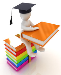 3d man in graduation hat with useful books sits on a boks