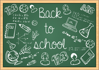 Education back to school icons over green chalkboard.