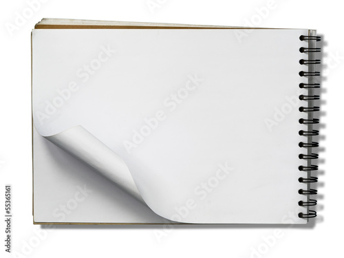 Open Note Book Blank Page on white