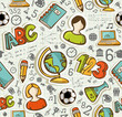 Back to School icons education seamless pattern.