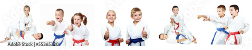 Fotobehang Vechtsporten Children athletes perform reception self-defense collage