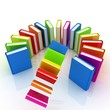 Colorful books flying