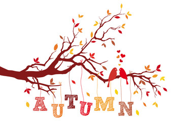 autumn tree branch with birds, vector