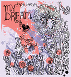 Day dream. Flowers. Illustration hand drawing.