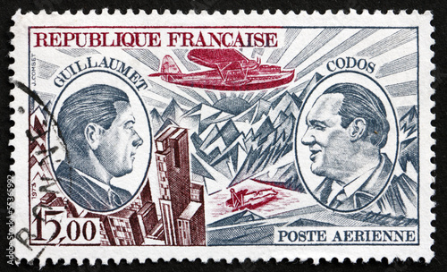Postage stamp France 1973 Guillaumet and Codos, Aviation Pioneer