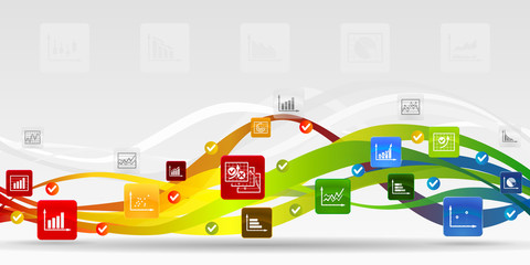 Business infographic mobile applications abstract background