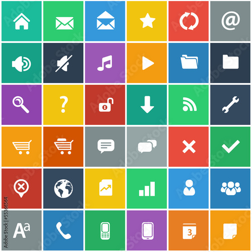 flat icons set - basic internet & mobile app icons