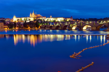 The Castle and Charles Bridge in Prague at night